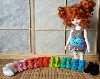 Stock 8 colors: BJD tiny Lati yellow Knitted top leather sole boots Choose your color
