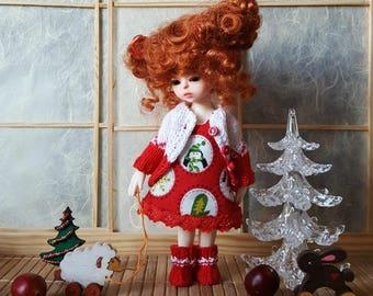 Pre-order: BJD tiny Lati yellow Christmas set Dress Shorts Jacket Boots