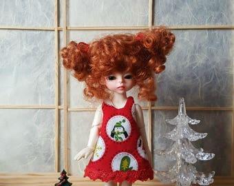 Pre-order: BJD tiny Lati yellow Christmas apron dress