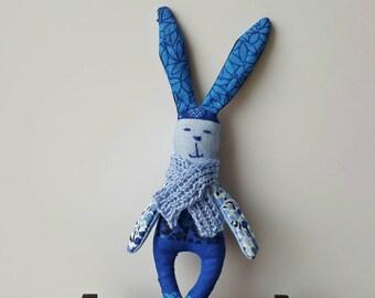 Blue bunny plush toy handmade OOAK