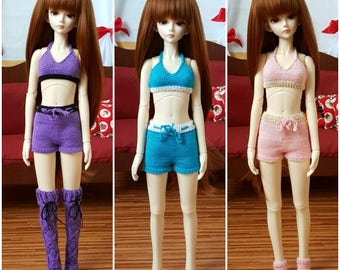 Stock 3 colors: BJD MSD Knitted shorts and top set Pink Purple Blue