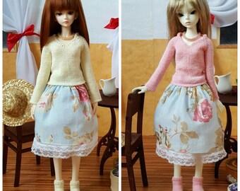 Stock 2 colors: BJD MSD Handmade Roses Set Pink Yellow Sweater Skirt Petticoat Socks