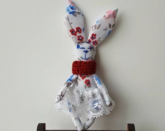 Flowers white blue red bunny plushie toy handmade OOAK