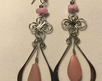 Teardrop silver with teardrop Pink Quartz earrings.