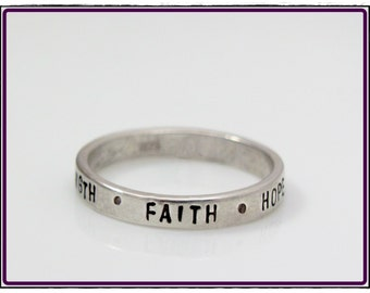Personalized word ring-Hand Stamped Ring- inspirational words- stackable sterling silver-stacking word ring