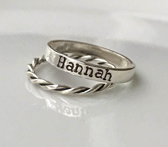 personalized Stackable name ring Sterling Silver Hand Stamped,