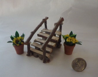 All Wood Staircase Handmade Miniature and Two Potted Yellow Flowers for Fairy Garden or Dollhouse
