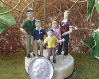 Very Tiny Family of Five Miniatures For The Fairy Garden or Doll House Garden