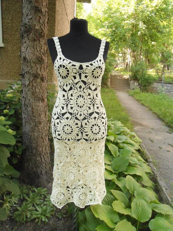 Crochet Kleid Sommer Spitzenkleid Kleid Champagner häkeln | Etsy
