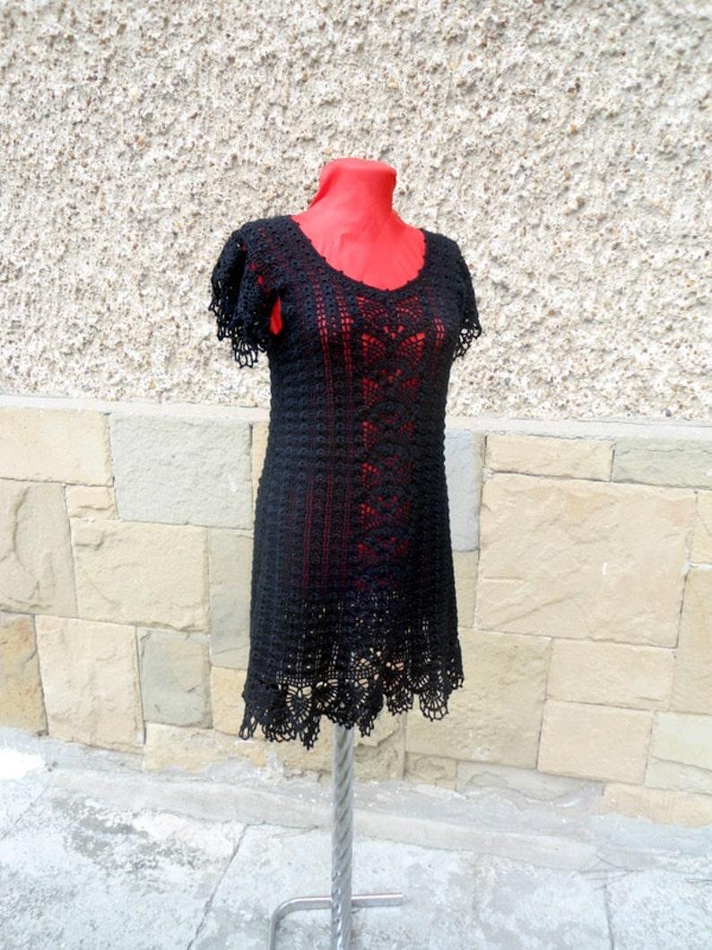 Gehäkelte MinikleidSpitzen Spitzenkleid Wunderschöne Schwarze Elegante Mode KleidFrauen DrеssSchwarzen Crochet BrdCxoe