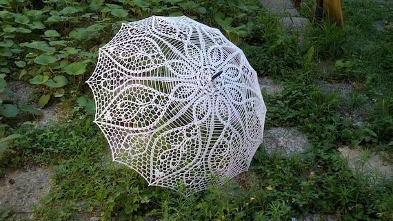 Häkeln Sie Weißen Schirm Hochzeits Sonnenschirm Regenschirm Etsy
