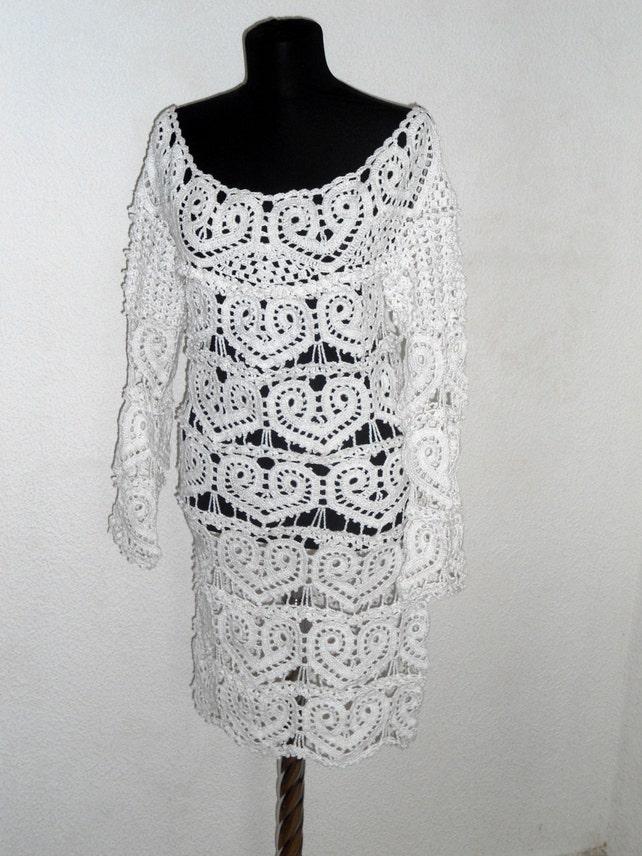 Weißes Kleid häkeln Lace Hochzeitskleid Herz Muster Kleid | Etsy