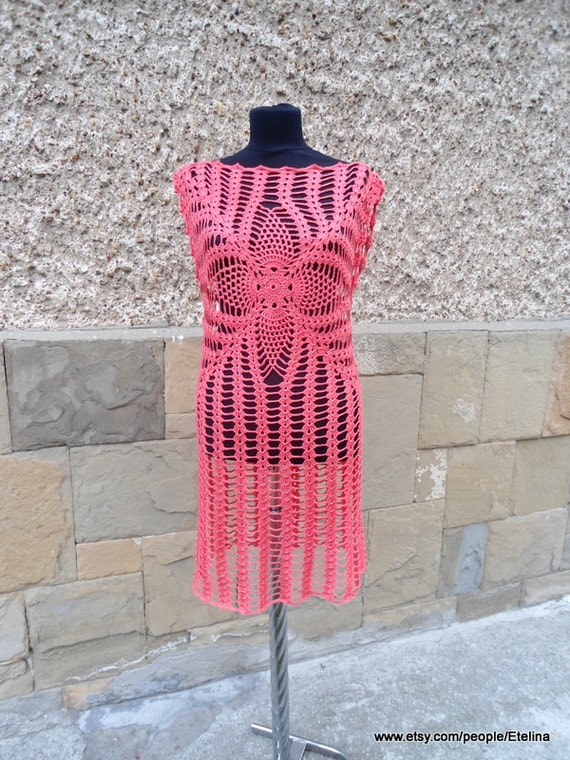 Häkeln Sie Korallen Kleid Strandkleid Sommer Strandkleid | Etsy