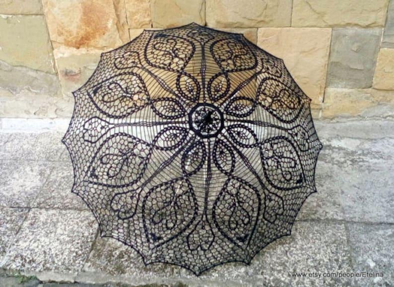 Black Crochet Umbrella Victorian Parasol Goth Umbrella image 0