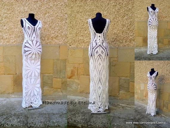 007cc762868 Crochet Wedding Dress White Lace Dress Wedding Woman Dress