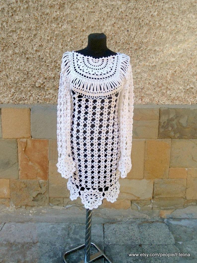 7763808dc9 Biała Sukienka motyw Crochet alternatywnych ślubu sukienka