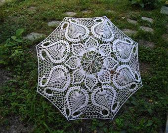 Lace Parasol, Crochet Wedding Umbrella, White  Victorian Umbrella, Romantic Wedding, Bridal Umbrella, Bridesmaid Bridal Party Cotton Parasol