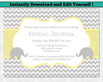Yellow and grey baby shower invitations etsy editable baby shower invitation template unisex baby shower invitation chevron baby shower gray and yellow elephant baby shower filmwisefo