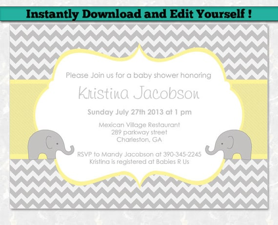 Editable Baby Shower Invitation Template Unisex Baby Shower Invitation Chevron Baby Shower Gray And Yellow Elephant Baby Shower
