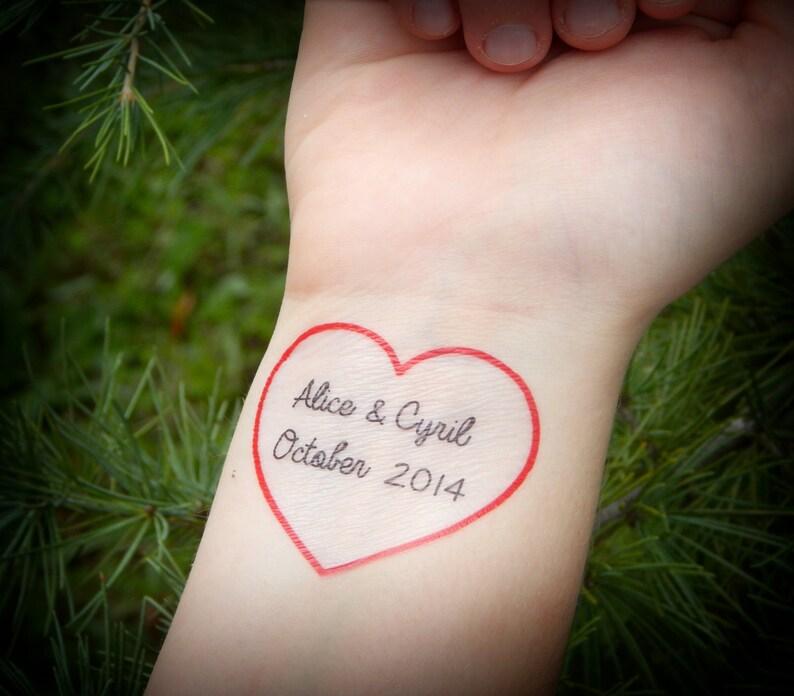 Benutzerdefinierte Herz Temporäre Tattoo Rotes Herz Tattoo Etsy