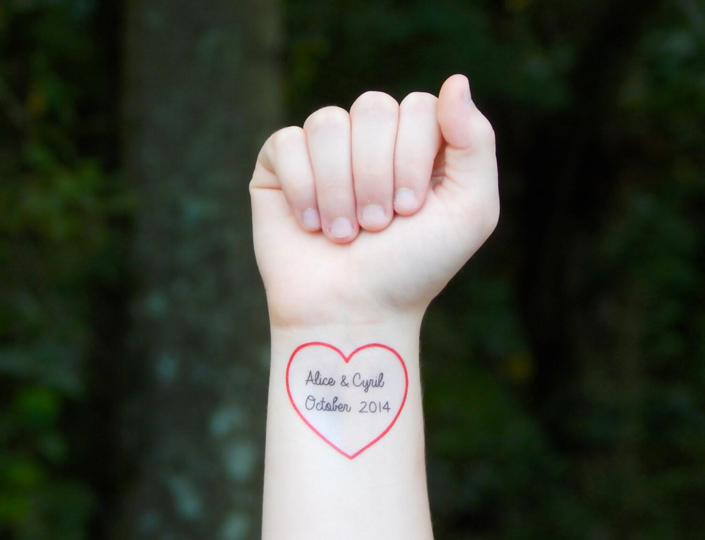 Benutzerdefinierte Herz temporäre Tattoo rotes Herz Tattoo | Etsy