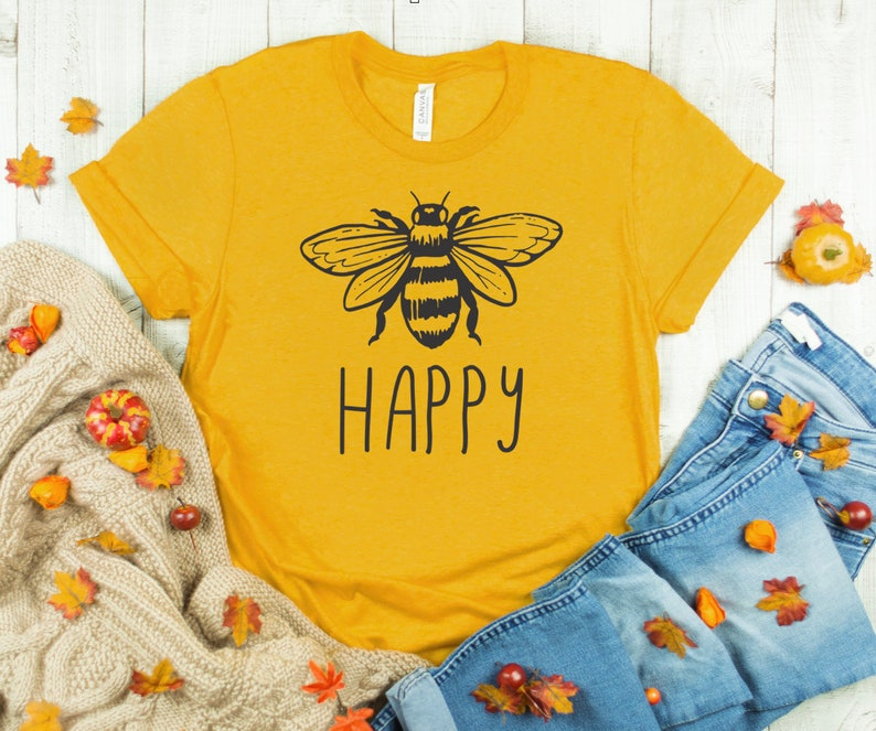 Womens fall shirt Bee Happy Shirt Mustard Color Bee shirt image 0