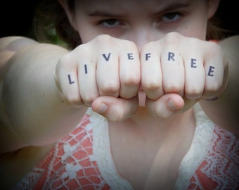 Temporary Tattoo - Knuckle Tattoos - Live Free - Custom Tattoo - Initials / Letters / Words / Quotes - You Design