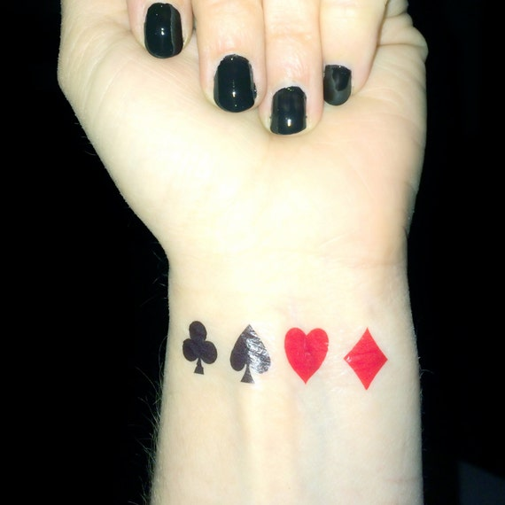 Playing Card Tattoo Poker Queen Of Hearts Club Diamond Etsy