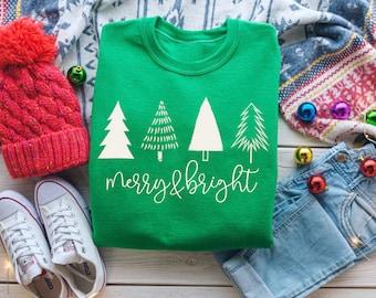 Christmas Tees, Merry & Bright Christmas Tree Shirt, Christmas Party Shirts, Womens Christmas Sweatshirt, Cute Holiday Shirt, winter Sweater