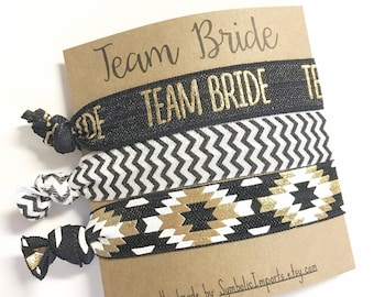 Team Bride Hair Ties, Bachelorette Party Favors, Bridesmaid Gifts, Team Bride Elastic Hair Ties, Wedding Party, Bachelorette Survival Kit