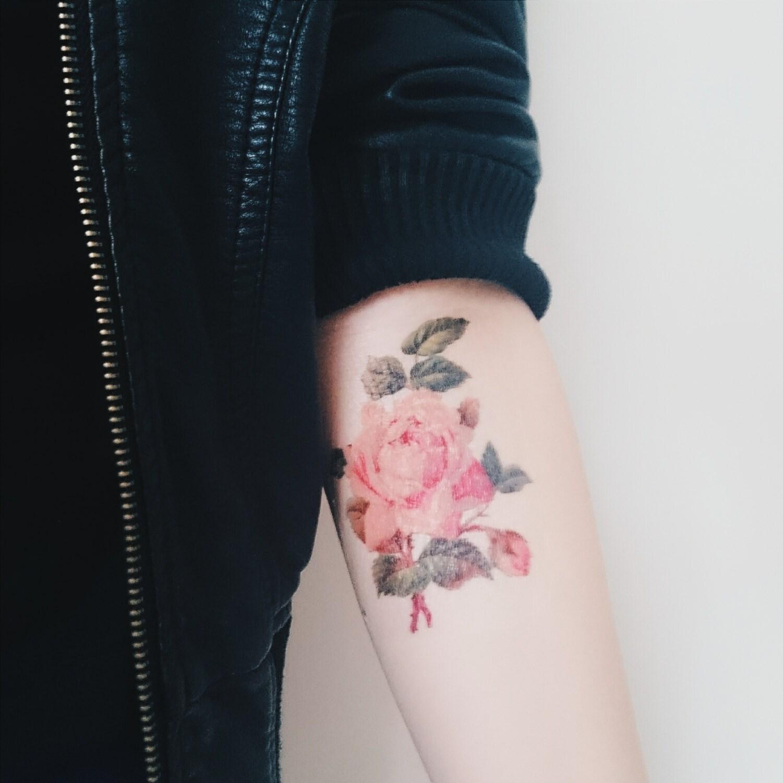 Rose Tattoo Spring Vintage Floral Temporary Tattoo Vintage Etsy