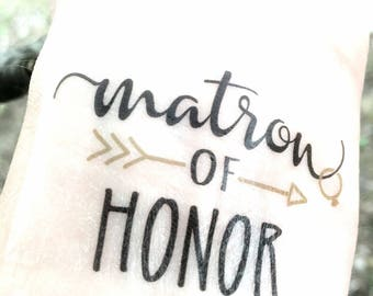 Bachelorette Party Favor - Matron of Honor Gift - Bachelorette Tattoo - Bachelorette Favor - Will You Be My Matron of Honor Gift