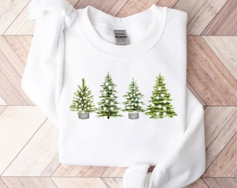 Womens Christmas Sweatshirt, Christmas Sweater, Pullover Sweatshirt, Christmas Tree Sweatshirt Tees, Holiday Sweater, Winter Holiday Shirt