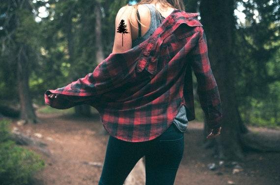 Kiefer Baum Temporare Tattoo Herbst Mode Herbst Geschenk Etsy