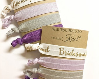 Will You Be My Maid of Honor, Will You Help Me Tie The Knot, Lavender Wedding, Bridesmaid Hair Ties, Be My Bridesmaid, Gray Wedding