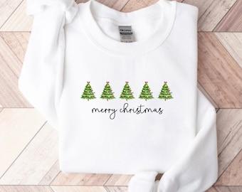 Minimal Christmas Sweatshirt, Christmas tree Sweatshirt, Christmas Gift Idea, Cute Christmas tee, Women Sweater gift, Womens Christmas Shirt