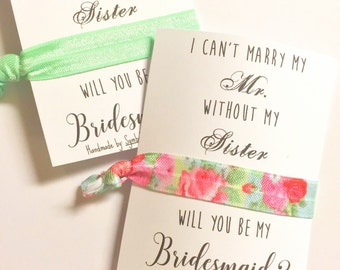 Bridesmaid Proposal Card - Will you be my Bridesmaid Gift - Hair Tie Favor - I Can't Marry My Mr - Marry My Mister Without My Sister