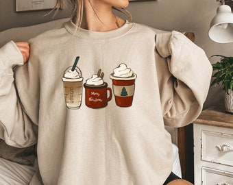 Christmas Crewneck Sweatshirt, Womens Cute Christmas Shirt, Winter Cozy Coffee Sweatshirt, Women Christmas Sweater, Funny Holiday Sweatshirt