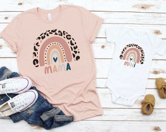 Mama Mini Shirts Rainbow, Mother's Day Gift, Mommy and Me Shirts, Mommy and Me Outfits, Matching Shirts, Matching Shirts for Mom and Baby
