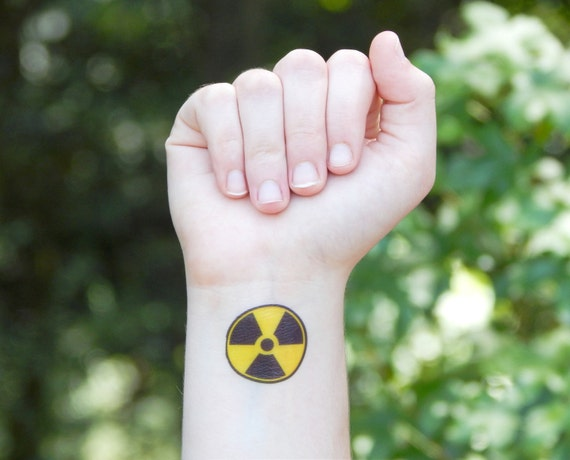 temporary tattoo radioactive symbol rh etsy com Radioactive Symbol Tattoo Radiation Symbol Clip Art