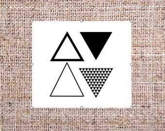 Triangle Temporary Tattoos - Geometric Tattoo - Set of 4