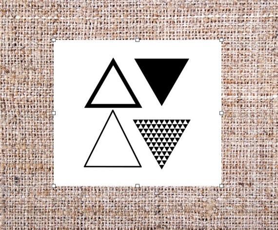 Triangle De Tatouages Temporaires Tatouage Geometrique Lot Etsy
