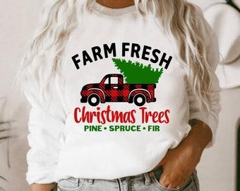 Farm fresh Christmas Tree truck Sweatshirt, Holiday Sweatshirt, Women's Buffalo Plaid Christmas Shirt, Cute Holiday Tee, Christmas Sweater