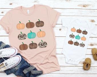 Mommy and me fall shirts, fall matching shirts, Thanksgiving matching shirts, Baby Pumpkin Shirt, Cute Pumpkin Tee, Womens Pumpkin Shirt