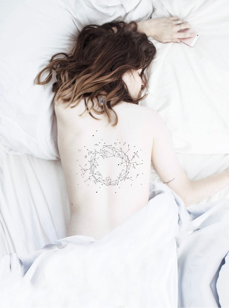 Zodiac Constellation Temporary Tattoo Star Map Galaxy Design Etsy