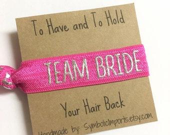Metallic Silver & Hot Pink Team Bride Hair Tie - Bridesmaid Hair Tie Favor - Bachelorette Party Favor - Elastic Hair Tie Bracelet
