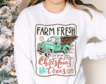 Farm Fresh Christmas Sweatshirt, Christmas Gift, Vintage Family Christmas shirts, Holiday Gift, Trendy Holiday Sweatshirt, Christmas Sweater