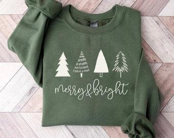Christmas Tree Sweatshirt, Merry & Bright Shirt, Christmas Shirts for Women, Christmas Crewneck pullover Sweater, cute Winter Holiday Tees