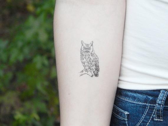 Owl Temporary Tattoo Owl Tattoo Illustration Tattoo Owl Etsy