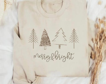 Christmas Tree Sweatshirt, Christmas Family Pajama, Cozy Winter Holiday Sweater, Womens Merry & bright Christmas Unisex Crewneck Sweatshirt